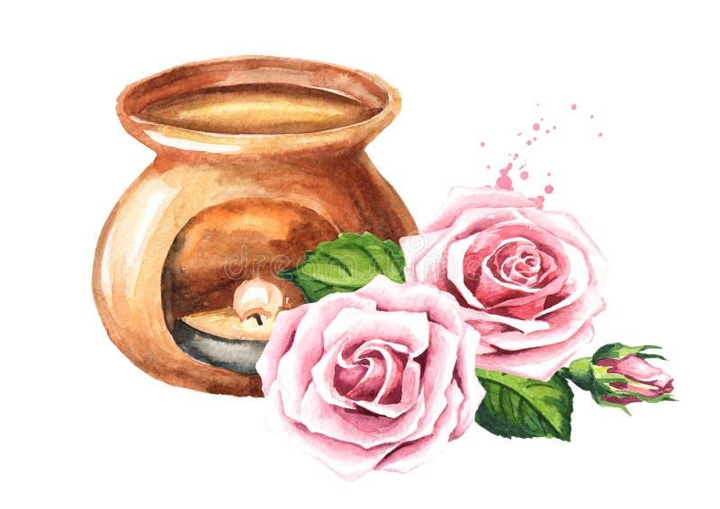 Petrolio essenziale del fiore di Rosa e lampada dell'aroma Illustrazione disegnata a mano dell'acquerello isolata su fondo bianco illustrazione vettoriale