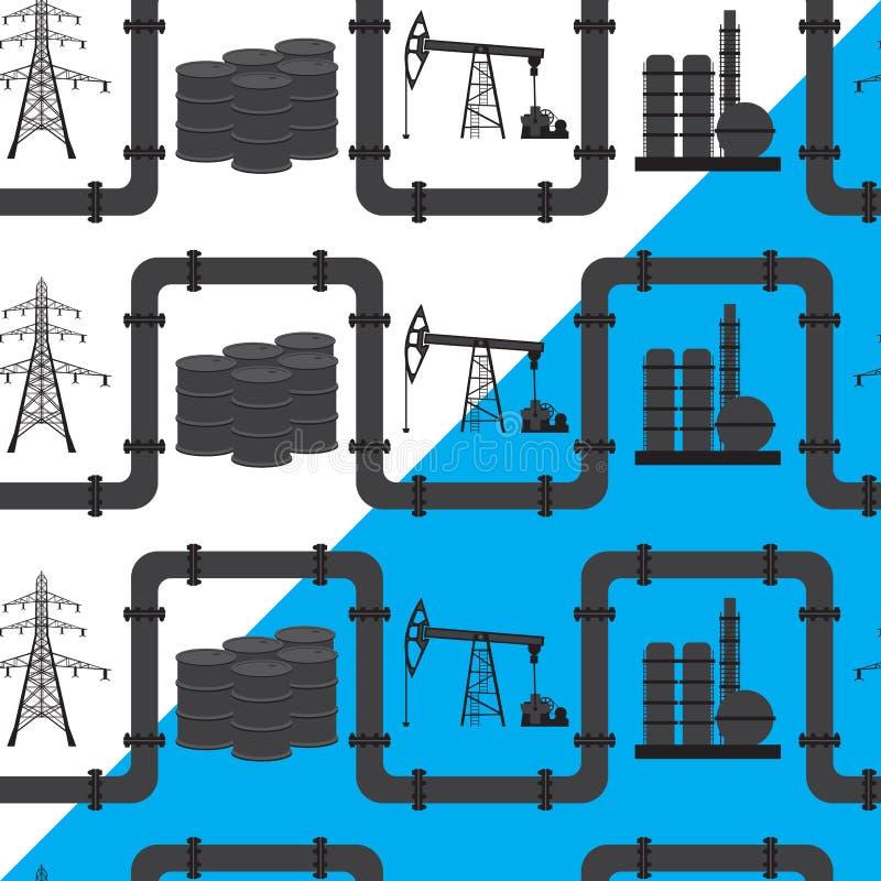 Petrolio, gas e settore produzione energia elettrico Backgroun senza cuciture del modello illustrazione vettoriale