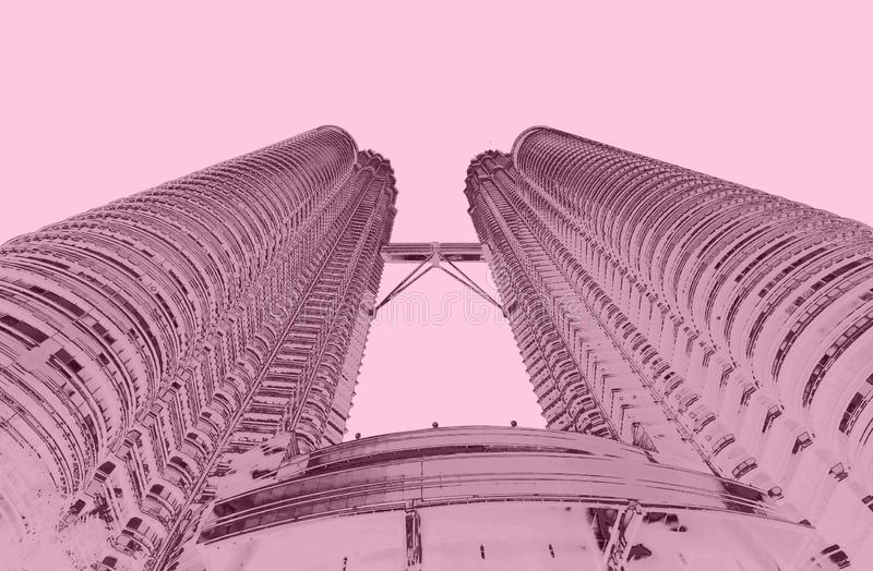 Petrona torn i duettsignal för KL Malaysia royaltyfri bild