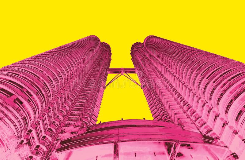 Petrona towers in KL Malaysia duo. Tone pink yellow royalty free stock photography