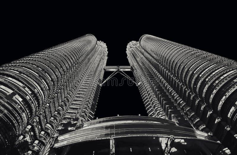 Petrona towers in KL Malaysia monochrome. Solarized stock image