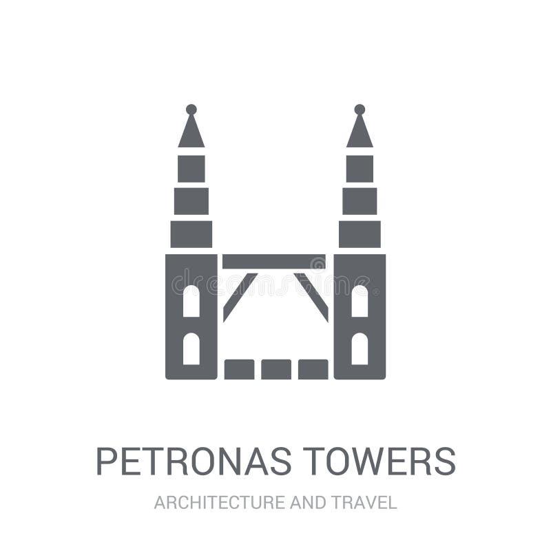 Petronas góruje ikonę Modny Petronas góruje logo pojęcie na whi ilustracja wektor