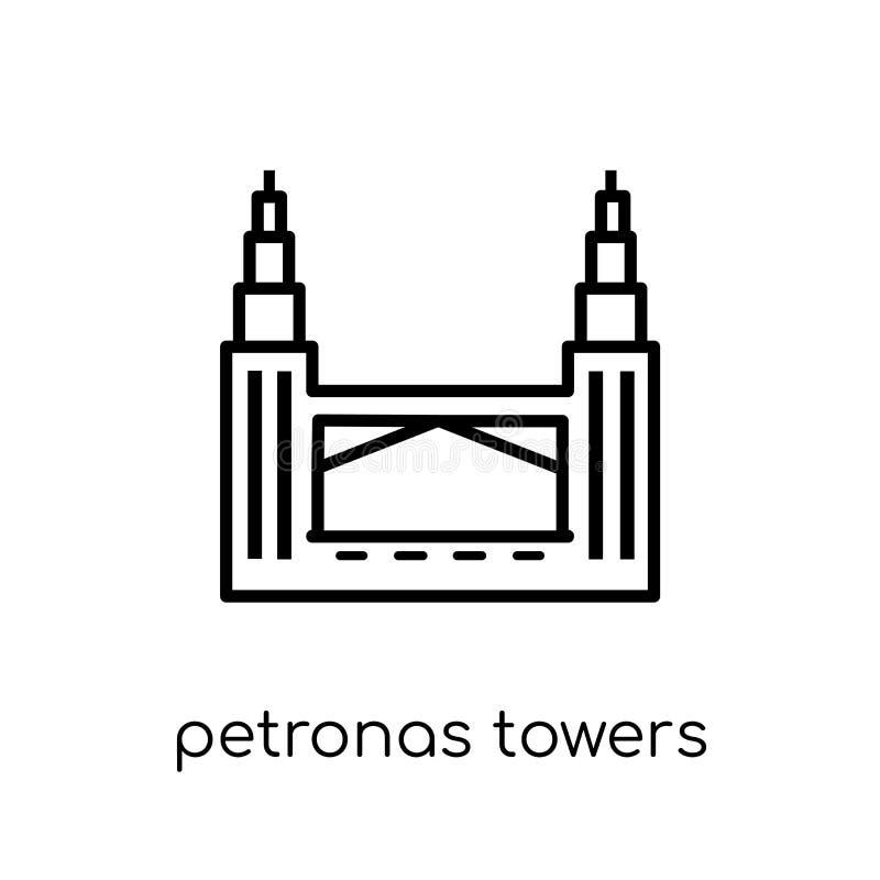 Petronas góruje ikonę Modny nowożytny płaski liniowy wektorowy Petronas royalty ilustracja