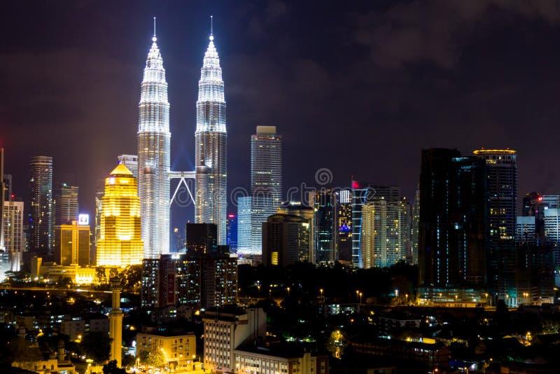 Petronas KLCC Twin Towers at night stock photography
