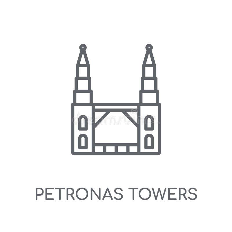 Petronas se eleva icono linear Logotipo moderno de las torres de Petronas del esquema libre illustration