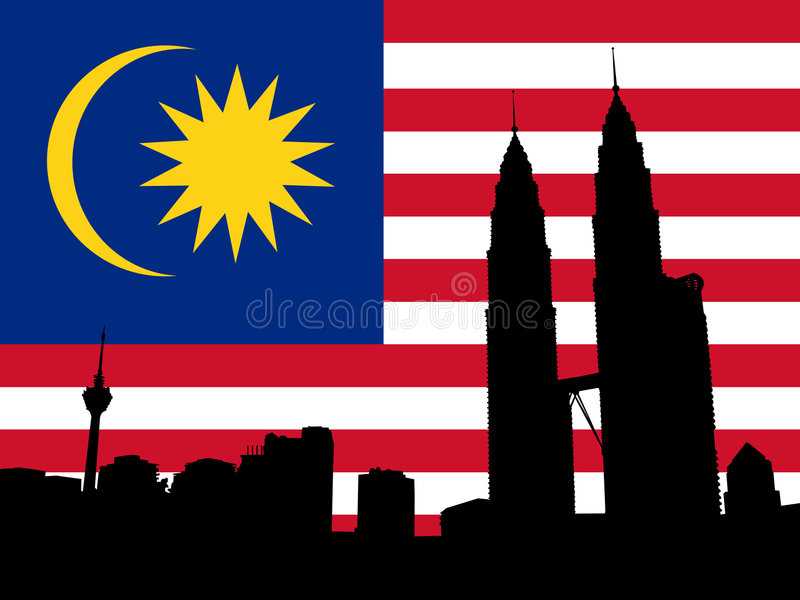 Petronas Towers with flag stock illustration