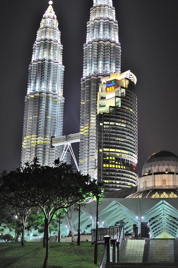 Petronas twin tower at night stock image
