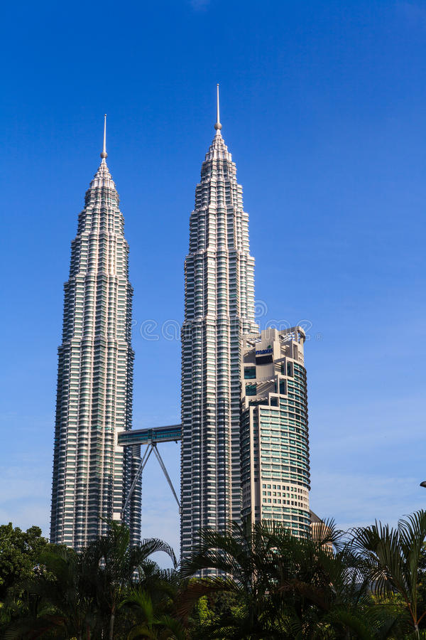 The Petronas Twin Towers. In Kuala Lumpur, Malaysia. This famous landmark of Malaysia are the tallest twin buildings in the world (451.9 m royalty free stock photo