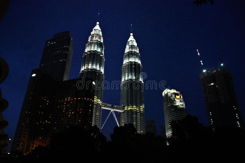 The Petronas Twin Towers at night, tallest twin towers in the world at Kuala Lumpur Malaysia stock photo