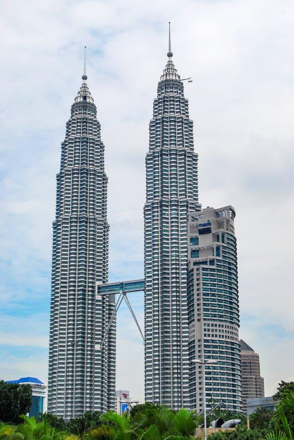 Petronas twin towers, skyscrapers in Kuala Lumpur, Malaysia.  stock photo