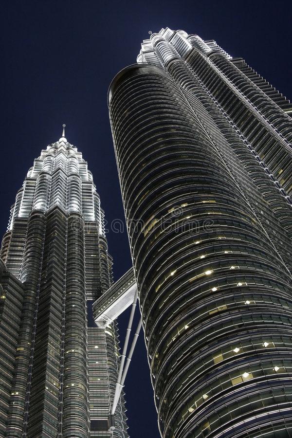 Petronas Twins Towers by night, KL, Malaysia royalty free stock photography