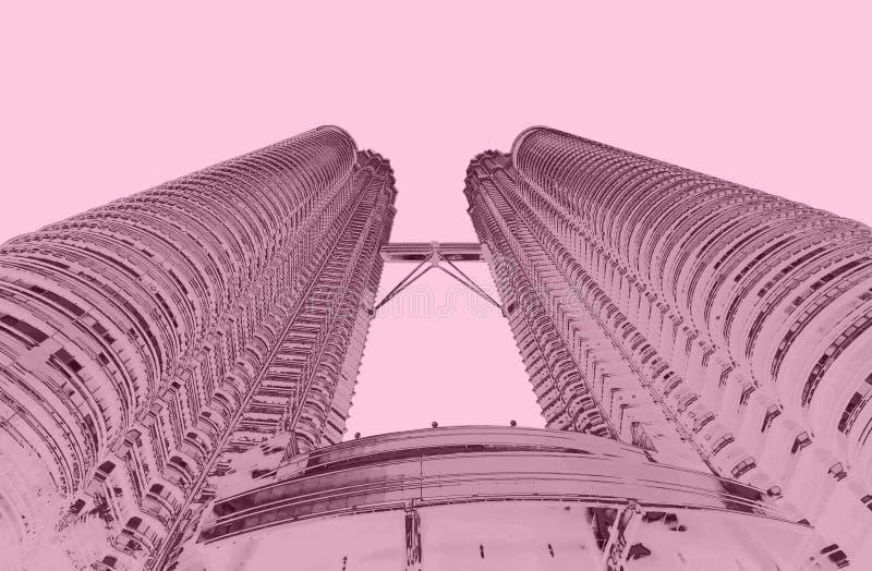 Petronatorens in het duotoon van KL Maleisië royalty-vrije stock afbeelding