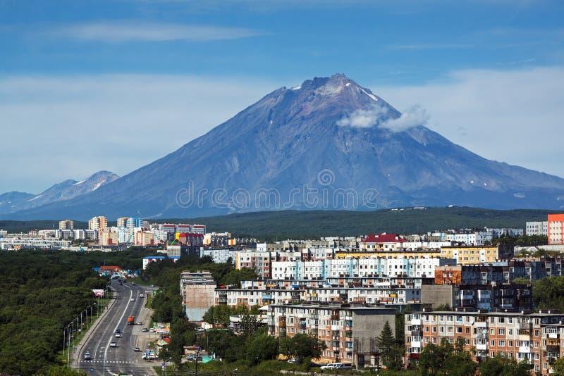 Petropavlovsk-Kamchatsky City and Koryak Volcano. Far East, Russia stock photography
