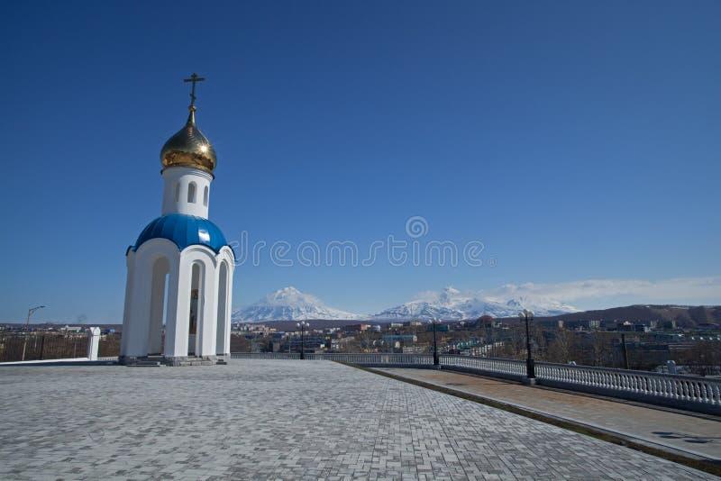 Petropavlovsk kyrka, Kamchatka arkivbilder
