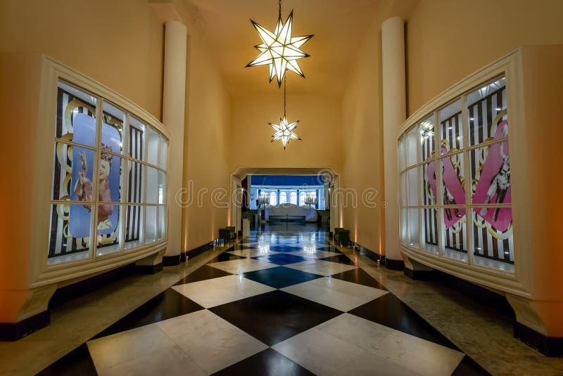 Galeria das Estrelas or Gallery of Stars at Quitandinha Palace former Casino Hotel - Petropolis, Rio de Janeiro, Brazil. Petropolis, Brazil - Nov 8, 2017 royalty free stock photos