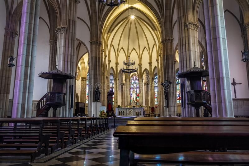 Petropolis katedra święty Peter Alcantara wnętrze - Petropolis, Rio De Janeiro, Brazylia zdjęcia stock