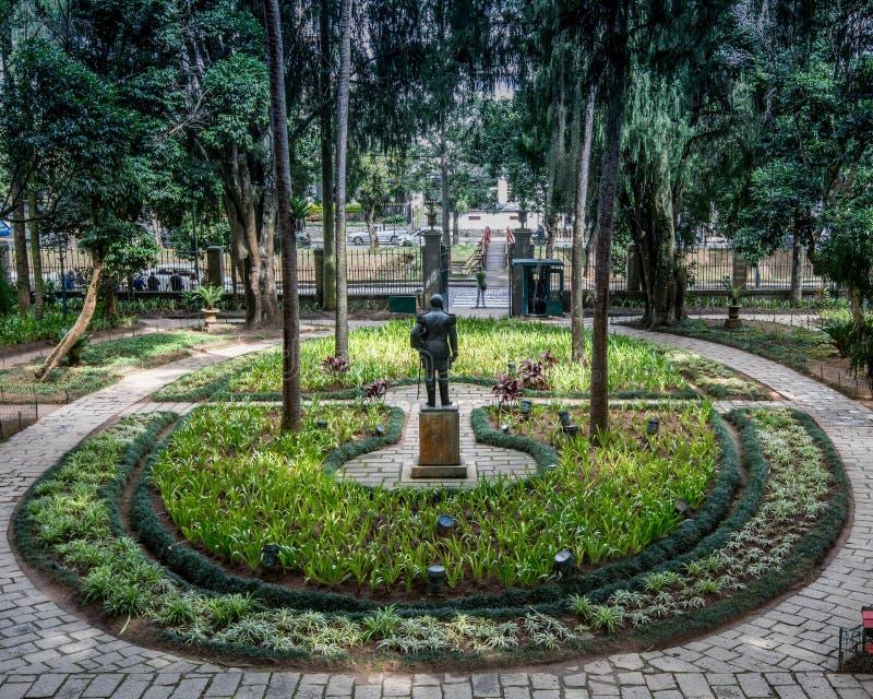 Museu Imperial de Petrópolis. Petropolis, Rio de Janeiro, Brazil- May 17, 2018: Central garden in front of the main entrance of the Imperial Museum royalty free stock image