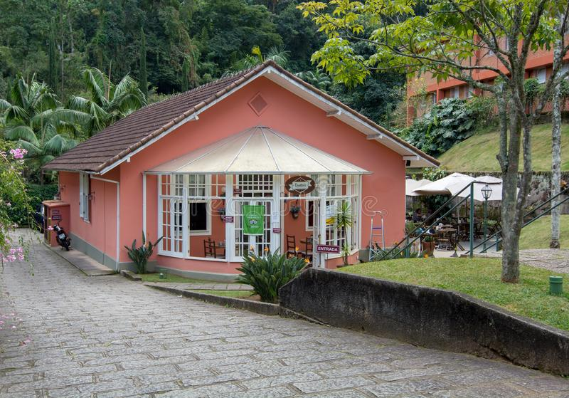 Museu Imperial de Petrópolis guest house. Petropolis, Rio de Janeiro, Brazil- May 17, 2018: The guest house of the Museu Imperial is now used as a restaurant royalty free stock photo