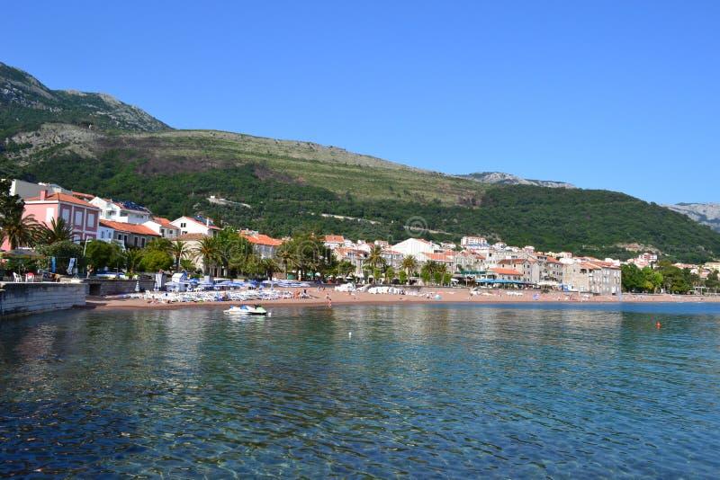 Petrovac,黑山,开始夏季 图库摄影