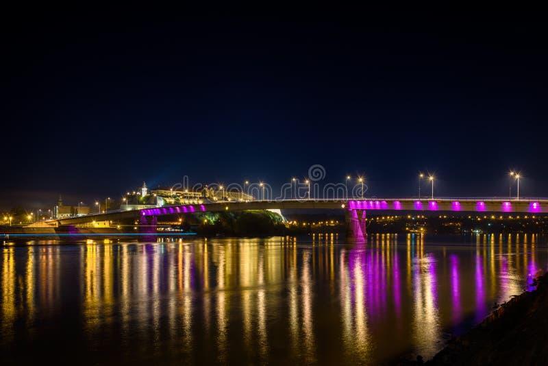 Petrovaradin forteca przy nocą zdjęcia stock
