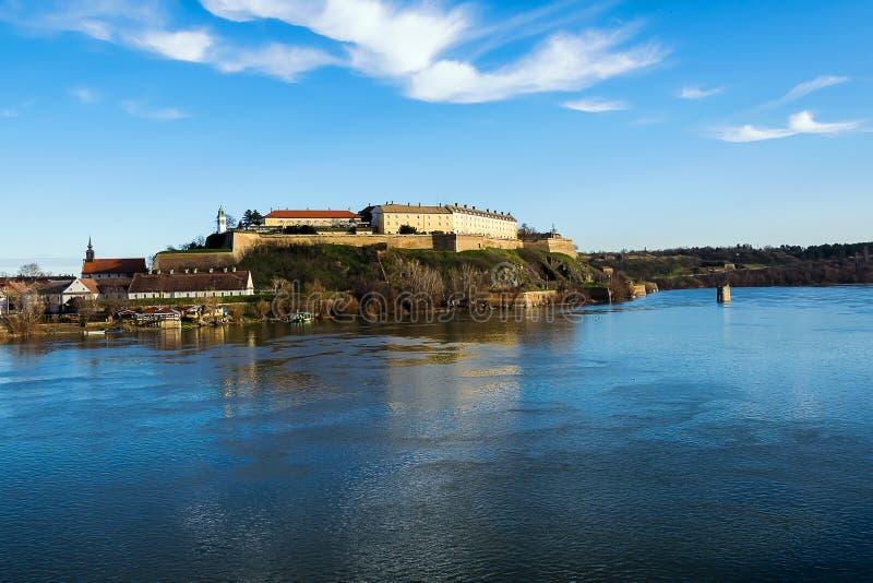 Petrovaradin fortress and Danube stock photo