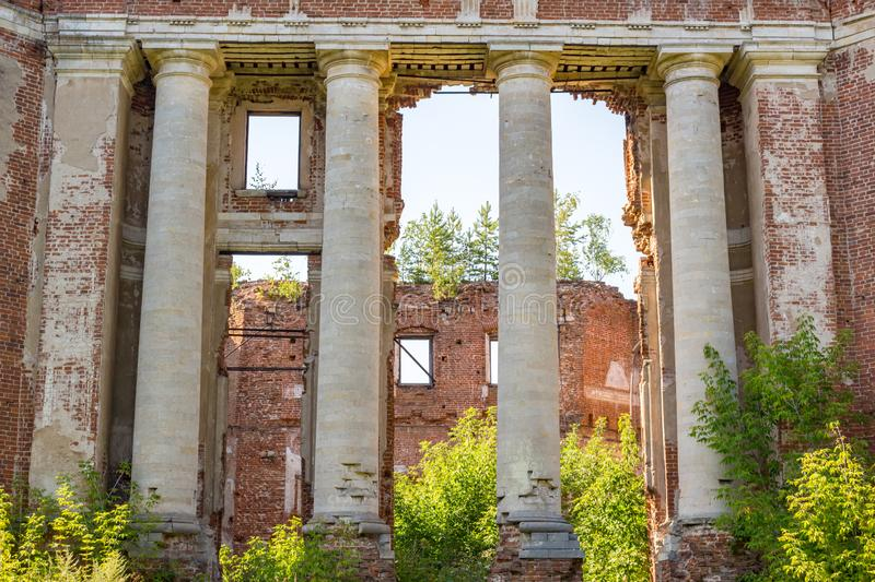 Petrovskoe-Alabino Estate - the ruins of an abandoned farmstead at the end of the 18th century royalty free stock photos