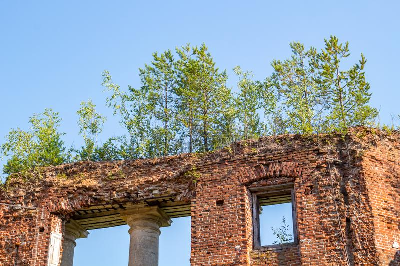 Petrovskoe-Alabino Estate - the ruins of an abandoned farmstead at the end of the 18th century stock photo