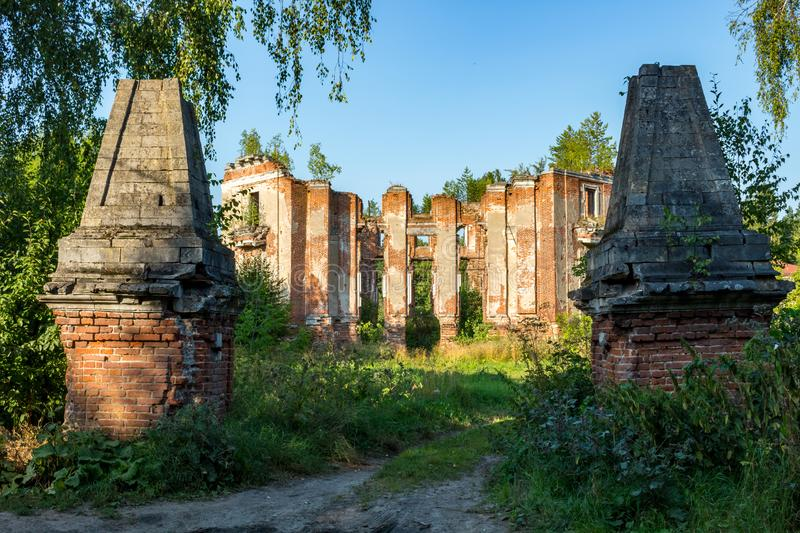 Petrovskoe-Alabino Estate - the ruins of an abandoned farmstead at the end of the 18th century royalty free stock image