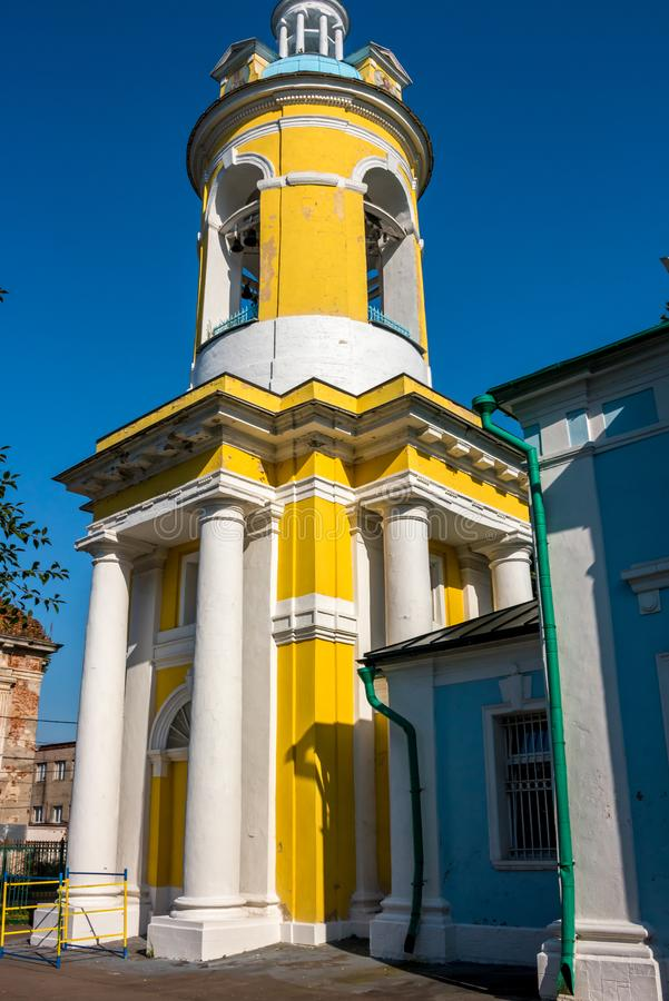 PETROVSKOE, RUSSIA - AUG. 2017: The bell tower of the church of St. Peter the Metropolitan of 1756 stock photos