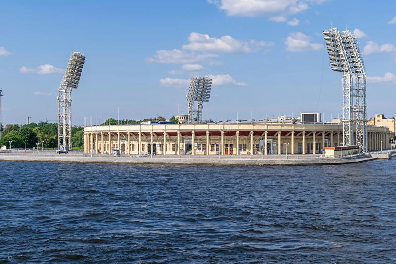Petrovsky Stadium on Petrovsky Island, an island in the Malaya Neva River in Saint Petersburg, Russia. Petrovsky or Lenin Stadium, a sports complex used mostly stock photos