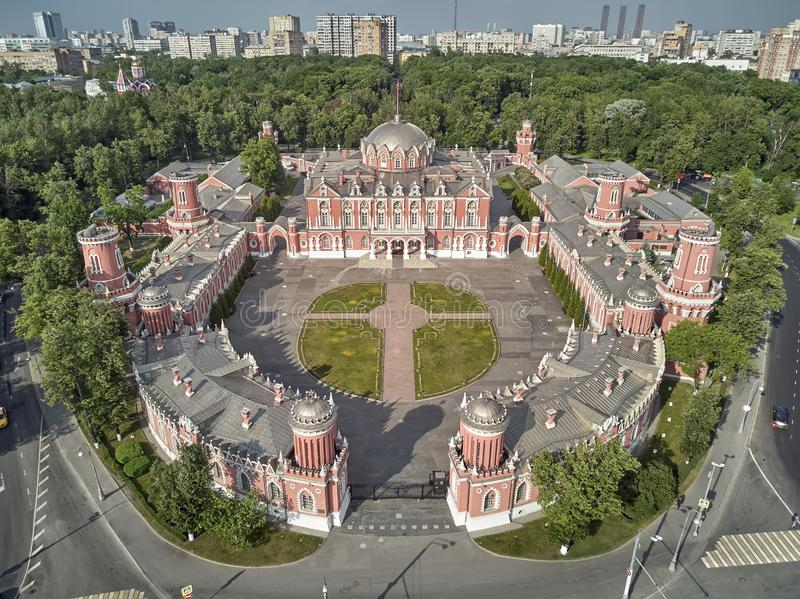Petrovsky Palace on Leningradskii avenue in sping day. Aerial drone view. Moscow, Russia. Petrovsky Palace on Leningradskii avenue in sping. Aerial drone view stock photos