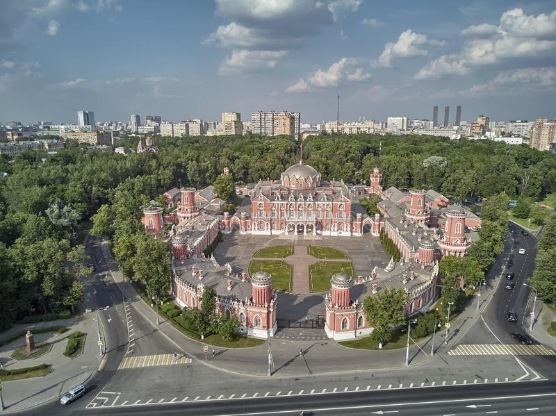 Petrovsky Palace on Leningradskii avenue in sping day. Aerial drone view. Moscow, Russia. Petrovsky Palace on Leningradskii avenue in sping. Aerial drone view royalty free stock photography