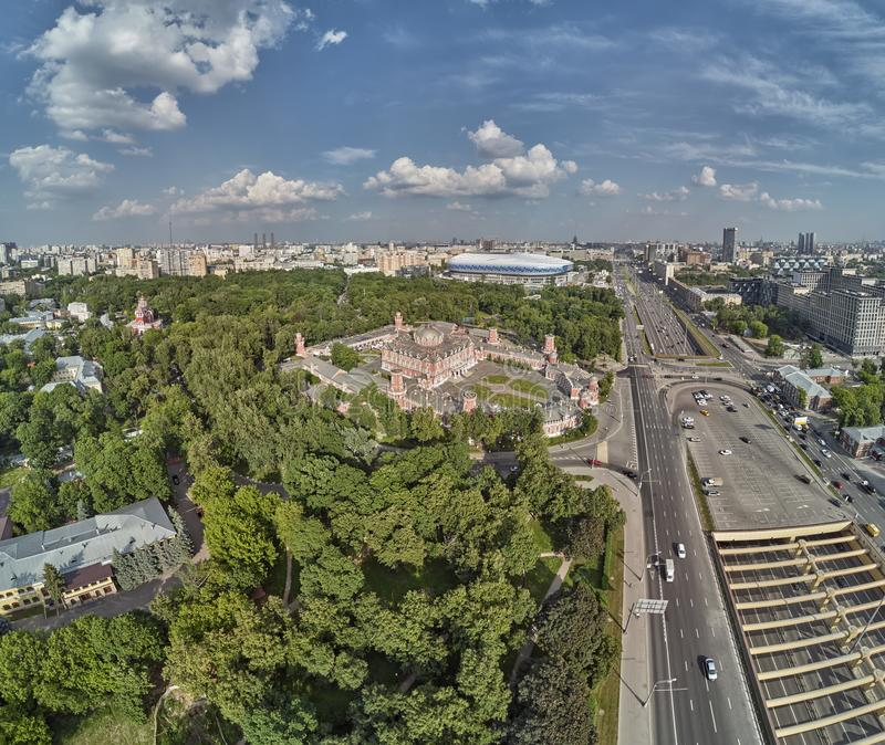 Petrovsky Palace on Leningradskii avenue in sping day. Aerial drone view. Moscow, Russia. Petrovsky Palace on Leningradskii avenue in sping. Aerial drone view stock photography