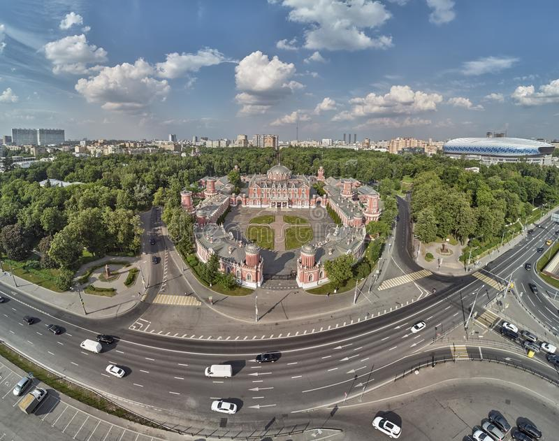 Petrovsky Palace on Leningradskii avenue in sping day. Aerial drone view. Moscow, Russia. Petrovsky Palace on Leningradskii avenue in sping. Aerial drone view royalty free stock photo