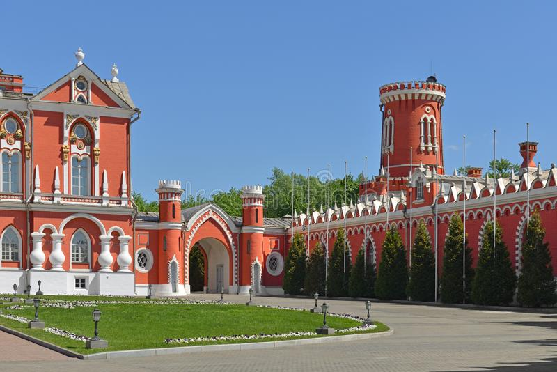 Petrovsky Palace was built for Catherine Great and designed by architect Kazakov in 1782. Courtyard stock image