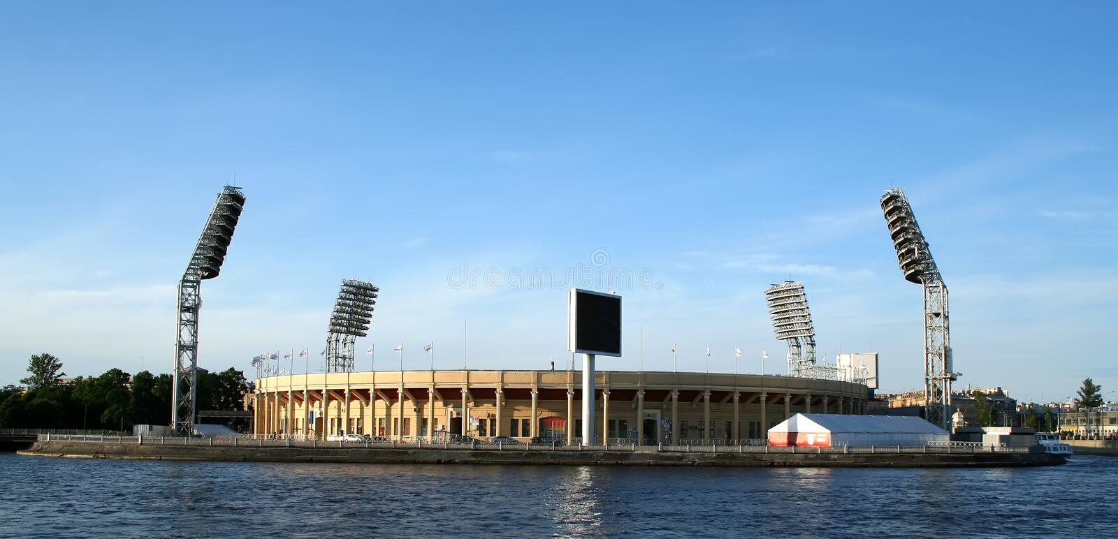 Petrovsky Stadium, St. Petersburg. The Petrovsky Sports Complex and Stadium, home of FC Zenit St. Petersburg. The Stadium is located on the Petrograd side of St royalty free stock photos