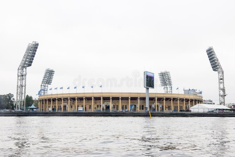 Petrovsky Stadium St. Petersburg. Seen from Neva River stock photo
