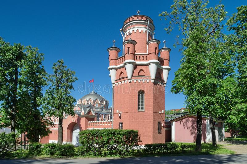 Petrovsky travel Palace on the Leningradsky prospect in Moscow, Russia stock images