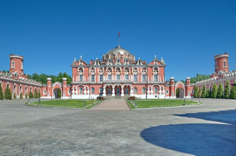 Petrovsky Travelling Palace in sunny day, Moscow, Russia royalty free stock images