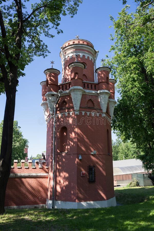 Petrovsky travelling palace in Moscow, neoghotic red bricked arc royalty free stock photo