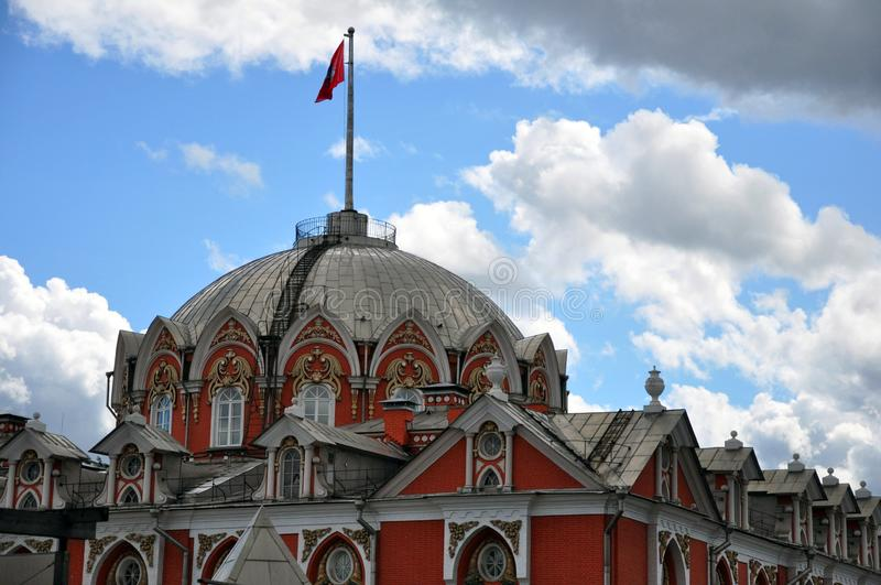 Petrovsky travelling palace, neoghotic red bricked architecture with ogival windows. Dome stock images