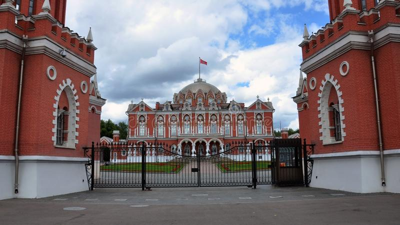Petrovsky travelling palace, neoghotic red bricked architecture with ogival windows. Front view royalty free stock images