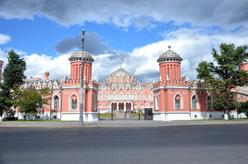 Petrovsky travelling palace, neoghotic red bricked architecture with ogival windows. Front view stock images