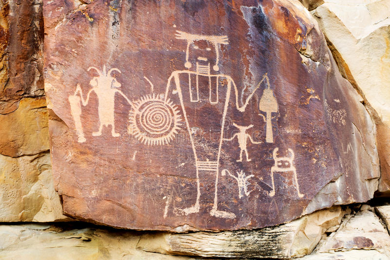 Petrroglyps aux ressorts de McKee Monument national de dinosaure (Etats-Unis U photos libres de droits