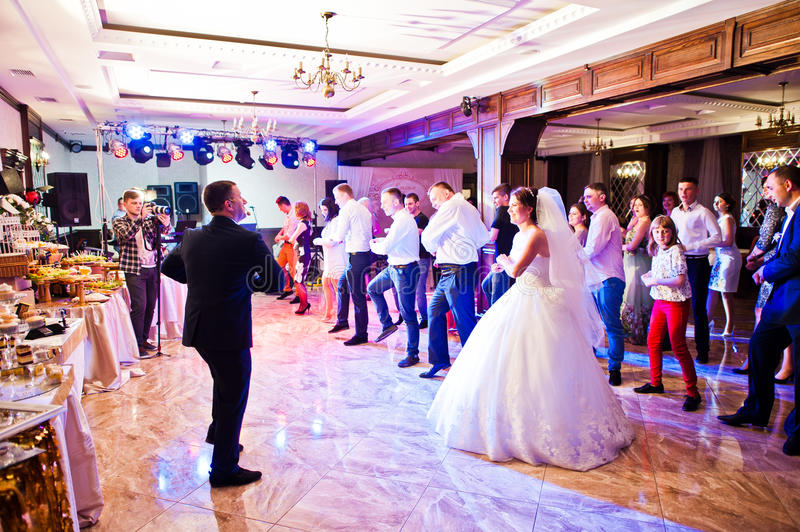 Petryky, Ukraine - May 14, 2016: Dance wedding party with guests royalty free stock photo