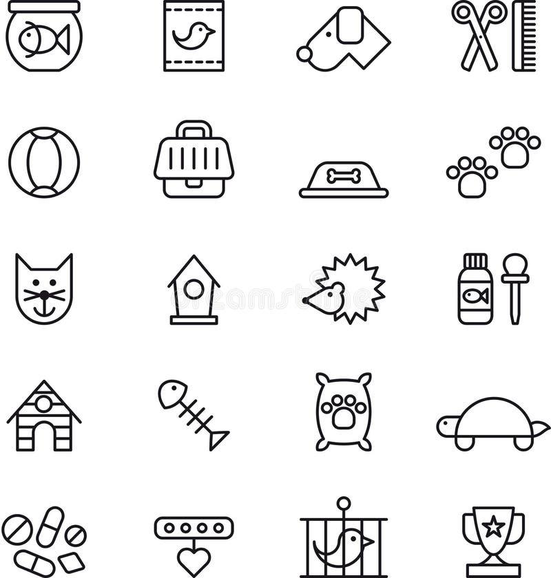 Pets ícones ilustração stock
