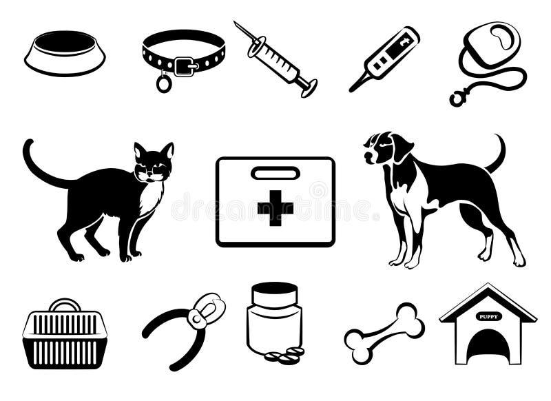 Pets ícones da medicina veterinária ilustração stock