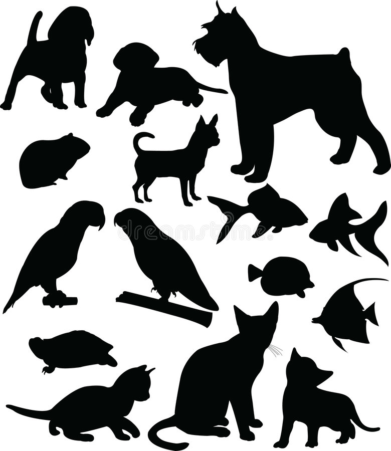 Pets. Collection of pets silhouettes (vector