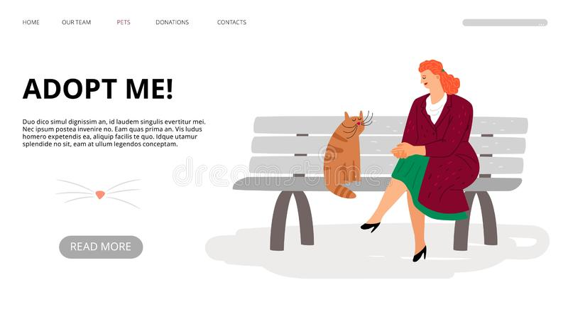Pets adoption landing page. Adopt me web banner. Vector cartoon woman and cat are sitting on bench vector illustration
