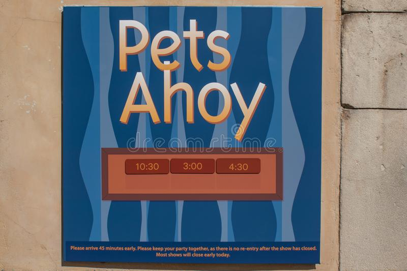 Sign And Drive 45 >> Pets Ahoy Sign At Seaworld In International Drive Editorial